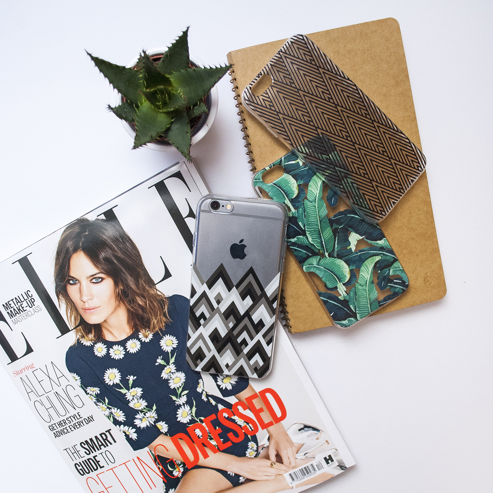Inkase Optical Phone Case on Desk with Fashion Magazine and Notebook