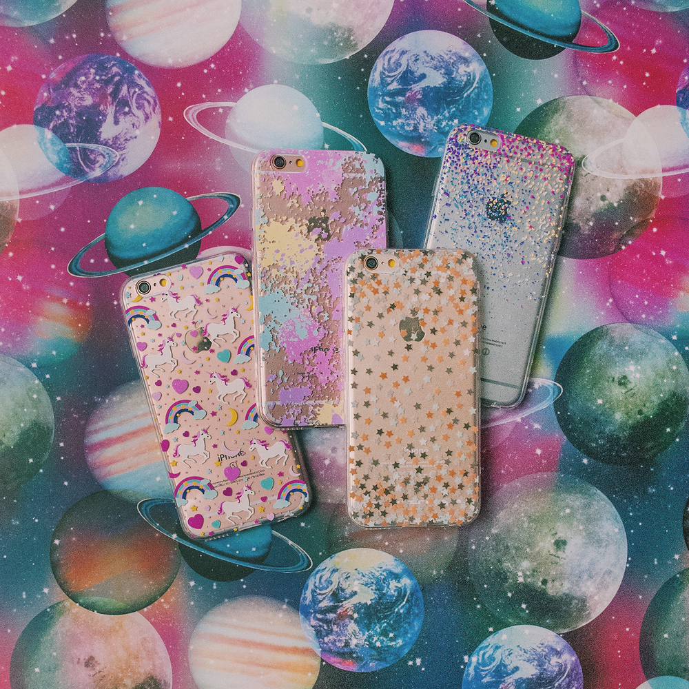 Inkase Unicorn, Pastel Paint Splat, Star and Speck Phone Cases on Planet Background