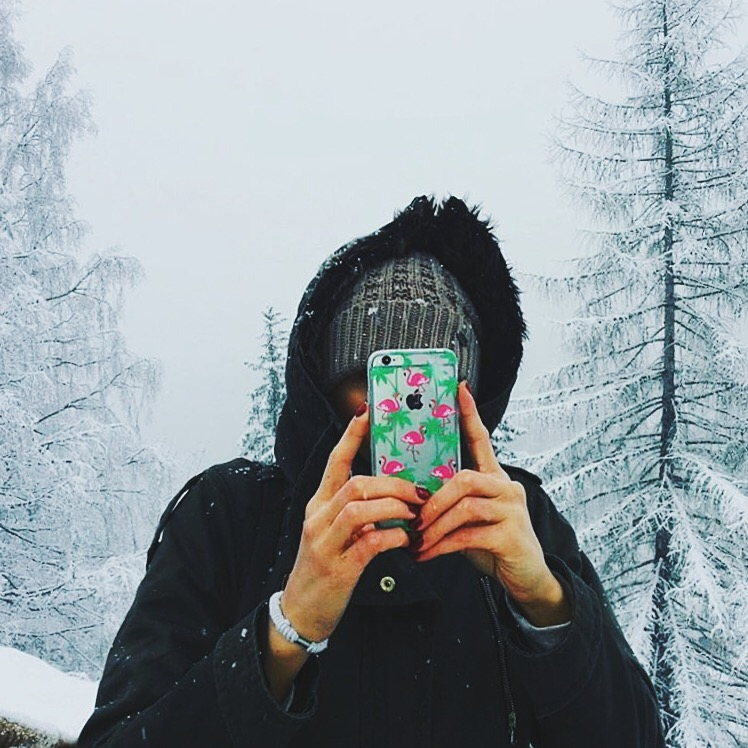 Inkase Flamingo Phone Case Selfie of Girl in Snow