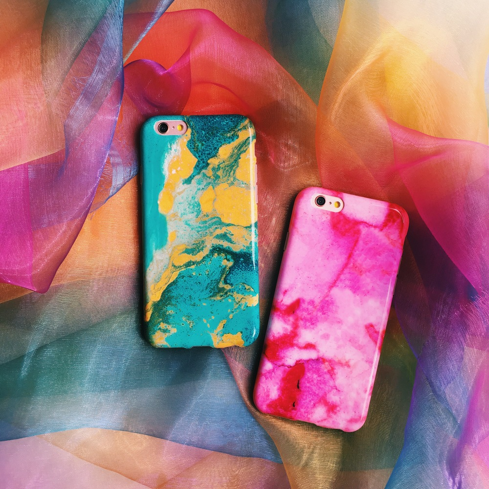 Inkase Pink and Turquoise iPhone Marble Cases