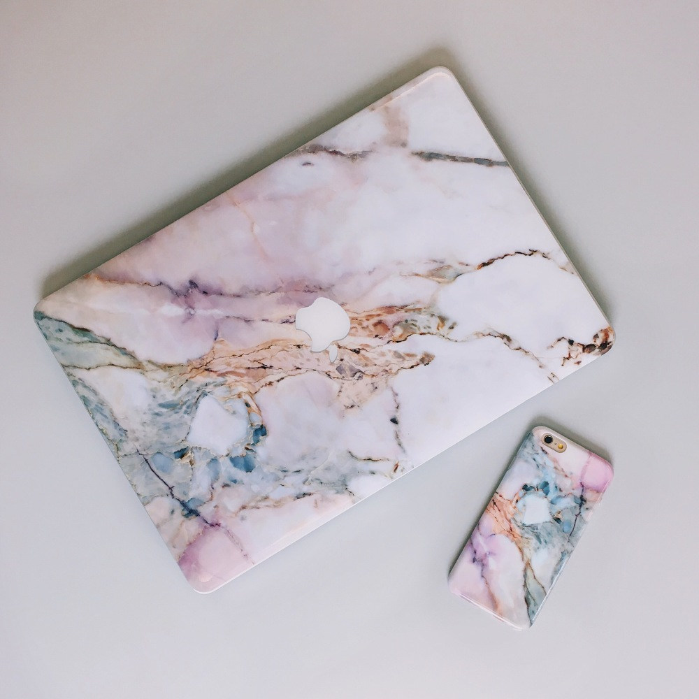 Inkase Marble Macbook Skin and Matching Phone case