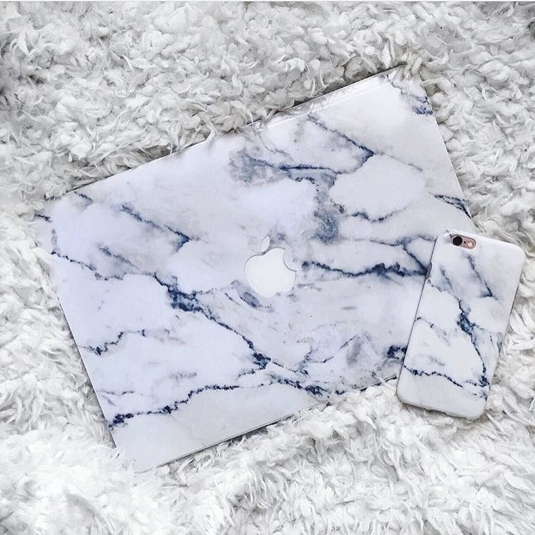 Inkase White marble phone case and macbook skin