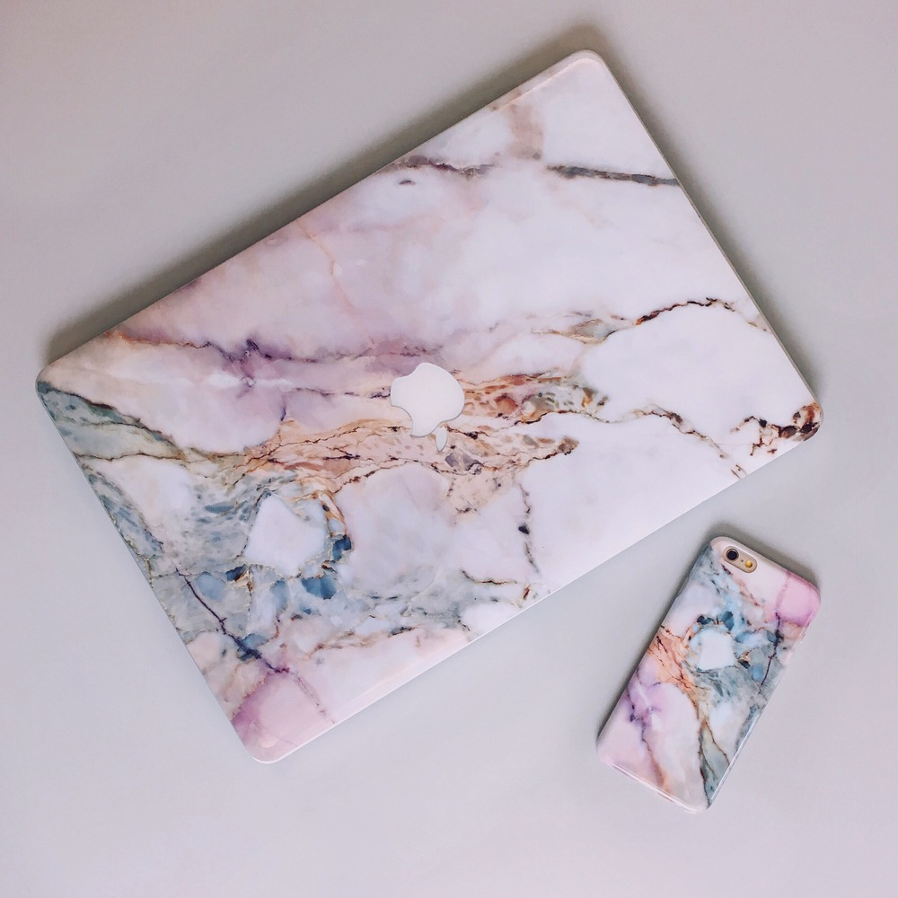 Inkase Pink Grey White Marble Macbook Skin and Phone Case