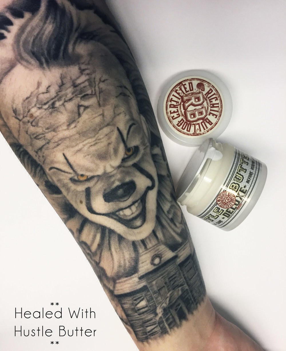 We have hustle butter for sale at the shop now!  This stuff is seriously awesome. Its 100% vegan and is made from Mango, shea, and aloe butters. Plus it smells amazing, trust us.  We have 1 oz tubs for sale at the shop so if you're in the market for a new tattoo aftercare product, come by and pick one up!    Click here to visit Hustle Butter's website
