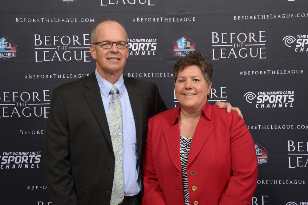 Paul and Susan O'Neill attend the Before The League documentary premiere on October 27, 2015 at the Pro Football Hall of Fame in Canton, Ohio.