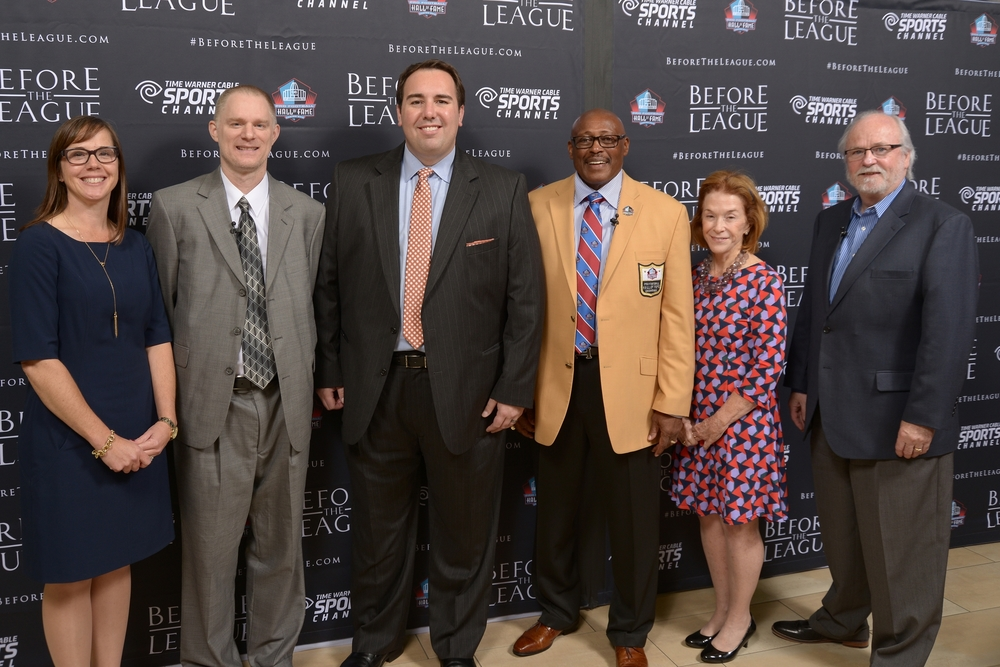 Alison Momeyer, Chris Willis, Jason Pheister, Floyd Little, Kate Buford, Joe Horrigan at the Before The League documentary premiere on October 27, 2015 at the Pro Football Hall of Fame in Canton, Ohio.