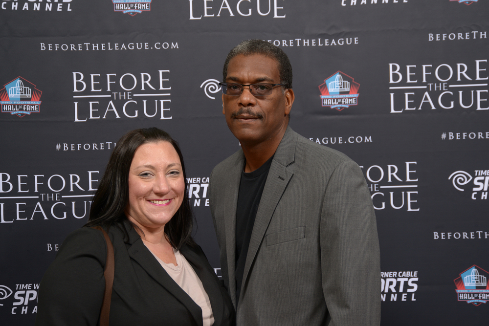 Nicole Newman, Anthony Milbern attend the Before The League documentary premiere on October 27, 2015 at the Pro Football Hall of Fame in Canton, Ohio.