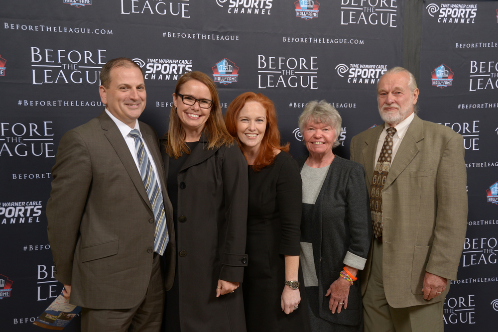 Jason Napora, Susie Henke, Amy Hunter and Guests attend the Before The League documentary premiere on October 27, 2015 at the Pro Football Hall of Fame in Canton, Ohio.