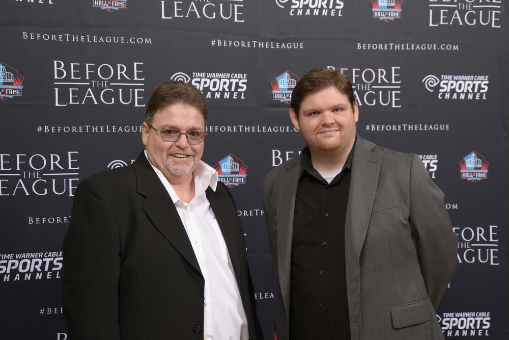 Chris Slone and guest at the Before The League documentary premiere on October 27, 2015 at the Pro Football Hall of Fame in Canton, Ohio.