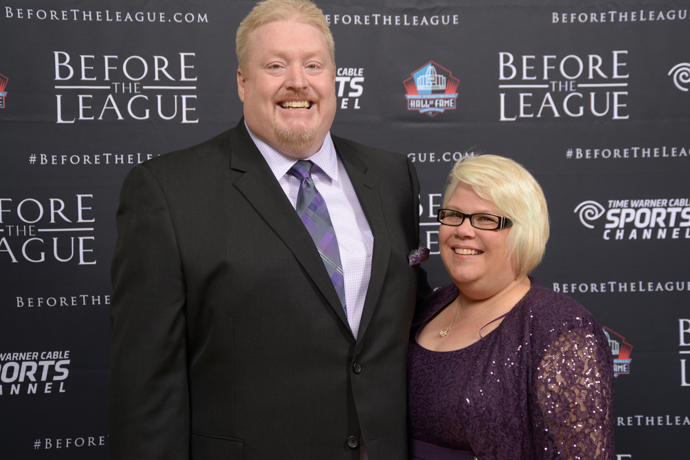 John and Julie Steggenhagen at the Before The League documentary premiere on October 27, 2015 at the Pro Football Hall of Fame in Canton, Ohio.