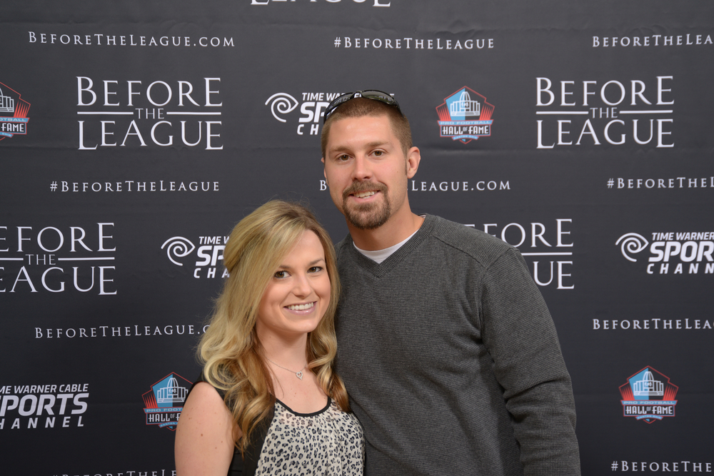 Brittany Kochesperger and Nathan Dieckman at the Before The League documentary premiere on October 27, 2015 at the Pro Football Hall of Fame in Canton, Ohio.