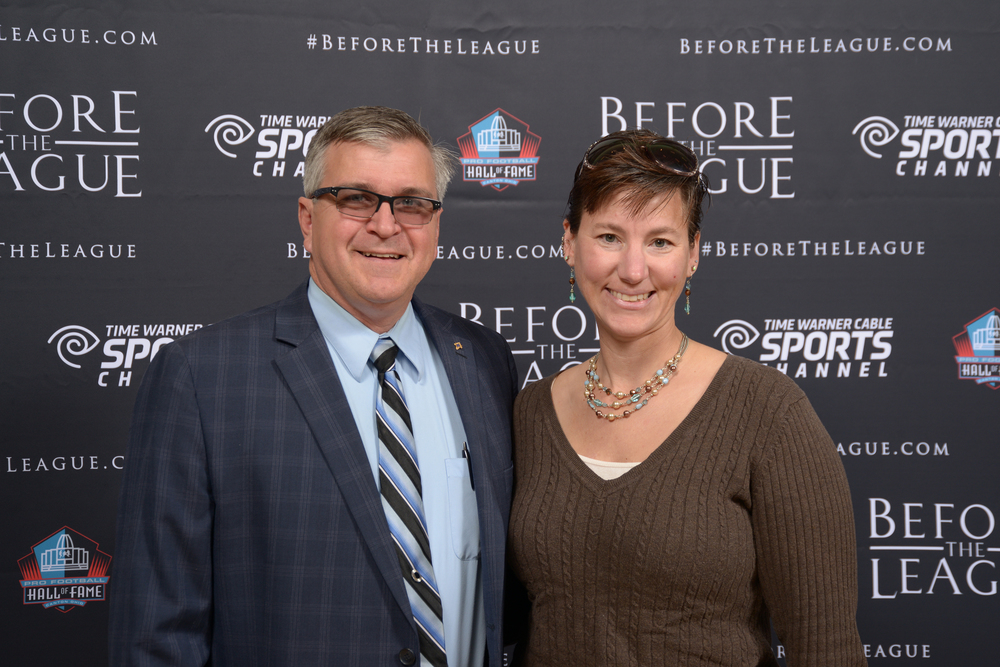 Jim and Amy Stoner at the Before The League documentary premiere on October 27, 2015 at the Pro Football Hall of Fame in Canton, Ohio.