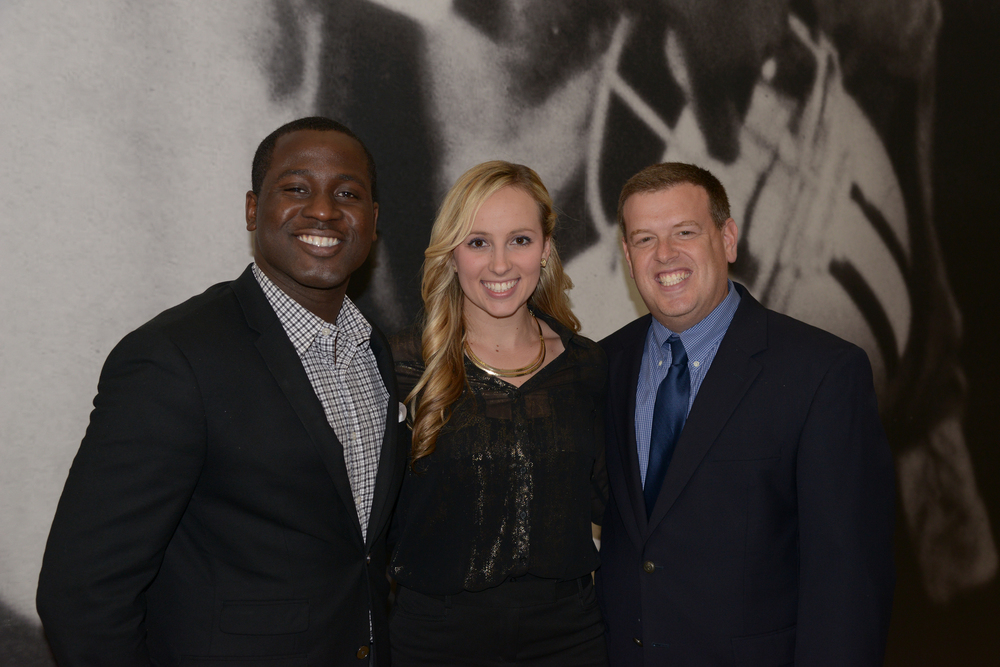 Harrison Sandford, Marisa Contipelli, Aaron Goldstein at the Before The League documentary premiere on October 27, 2015 at the Pro Football Hall of Fame in Canton, Ohio.