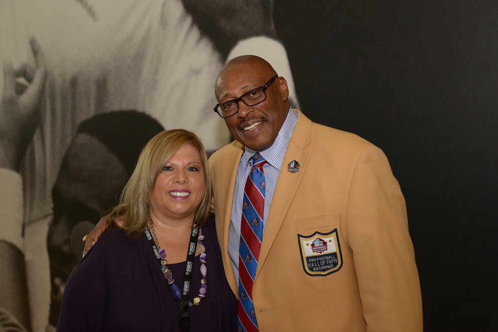 Barb Geller and Floyd Little at the Before The League documentary premiere on October 27, 2015 at the Pro Football Hall of Fame in Canton, Ohio.