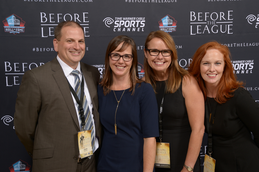 Jason Napora, Alison Momeyer, Susie Henke, Amy Hunter attend the Before The League documentary premiere on October 27, 2015 at the Pro Football Hall of Fame in Canton, Ohio.