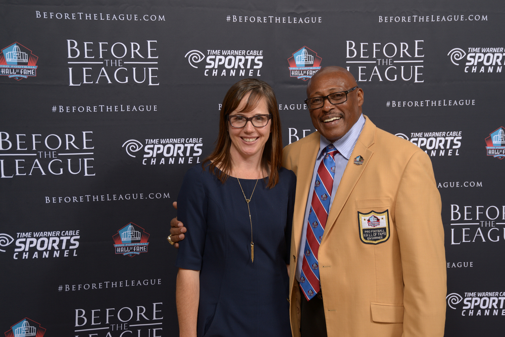 Alison Momeyer, Floyd Little at the Before The League documentary premiere on October 27, 2015 at the Pro Football Hall of Fame in Canton, Ohio.