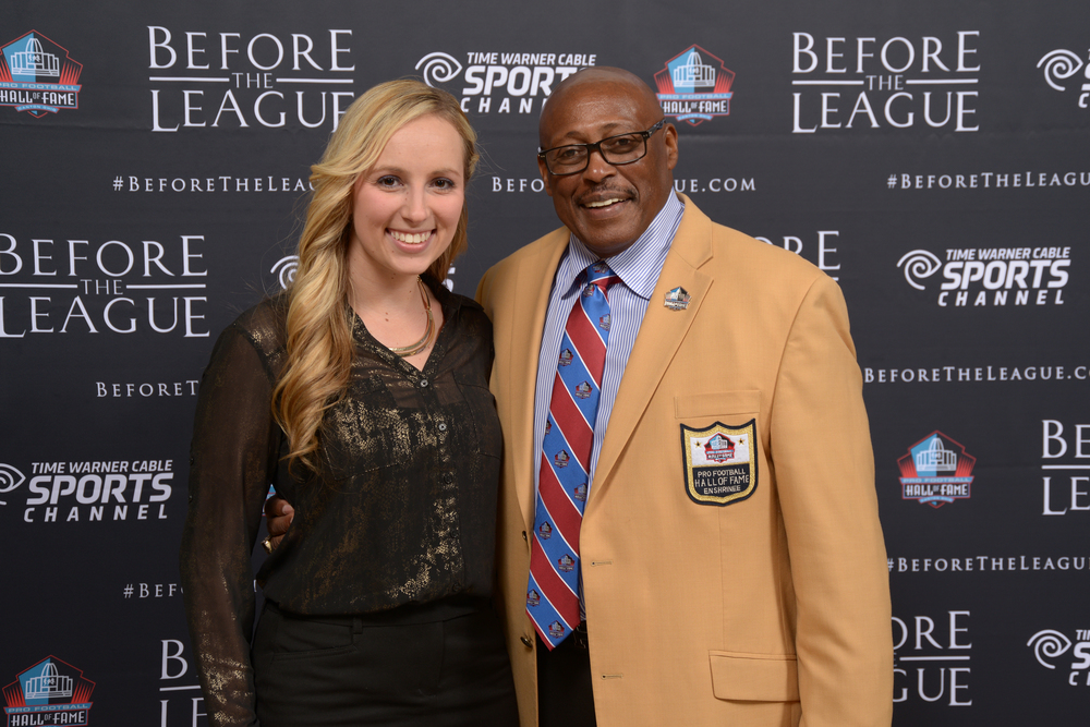 Marisa Contipelli, Floyd Little attend the Before The League documentary premiere on October 27, 2015 at the Pro Football Hall of Fame in Canton, Ohio.