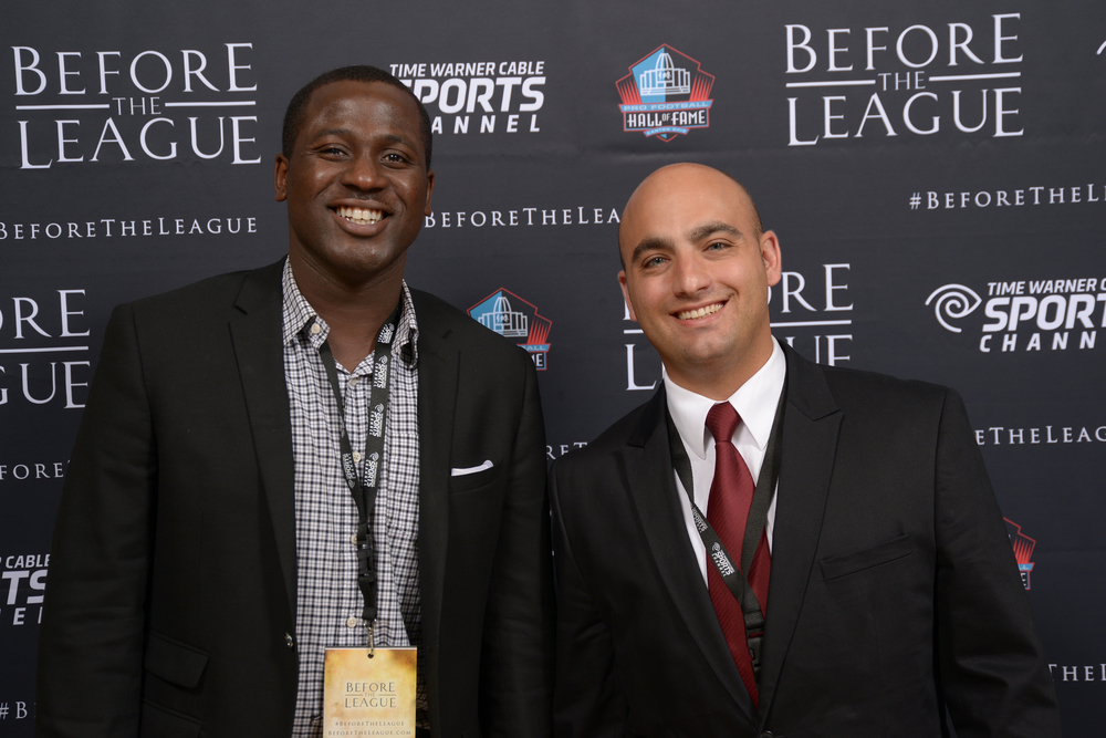 Harrison Sanford, Mike McKievier attend the Before The League documentary premiere on October 27, 2015 at the Pro Football Hall of Fame in Canton, Ohio.
