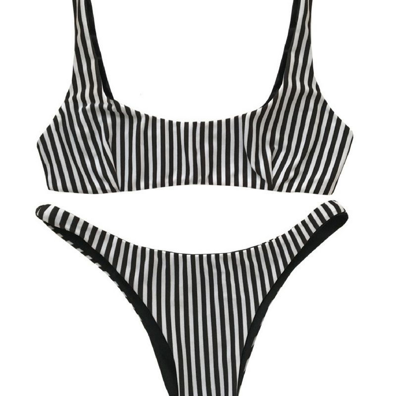 Novel Swim   I loved this pinstripe option but be sure to check out the rest of the collection, which includes activewear.