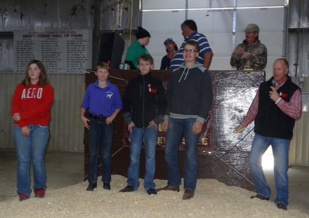 Pictured are the four MHSA scholarship winners who purchased ewes at the 2016 Minnesota Bred Ewe Sale.  From left: Bridgette Herrig of Slayton, MN; Zack Peterson of Ellsworth, WI; Nate Bobendrier of Pipestone, MN; and Jared Christensen of Tyler, MN. At right is Tom Bobendrier representing MHSA.