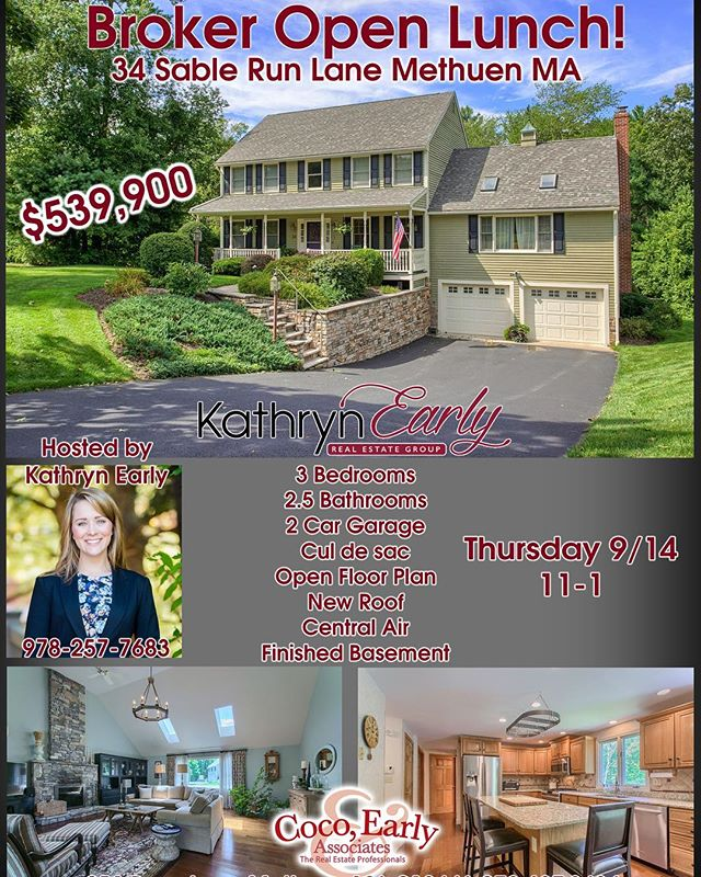 See you at our broker open on Thursday! 11-1, 34 Sable Run Lane in Methuen MA 01844. #realtor #realestate #openhouse #mahomes #marealtor