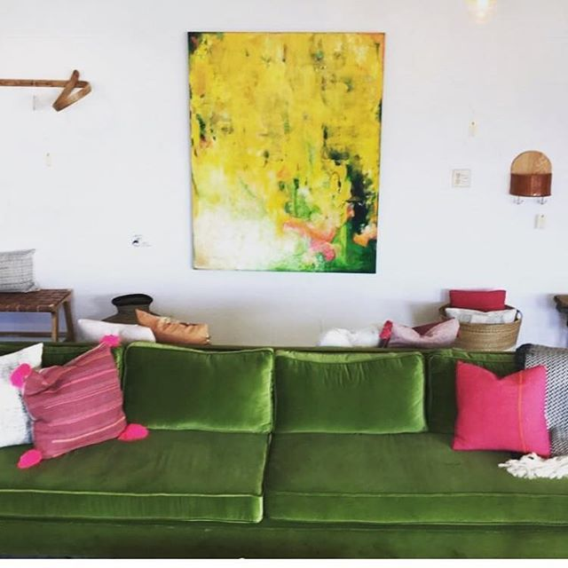 Love this green velvet sofa we did for westward foundry in boulder #interiordesign #upholstery #greenvelvet #sofa #colorsaredivine