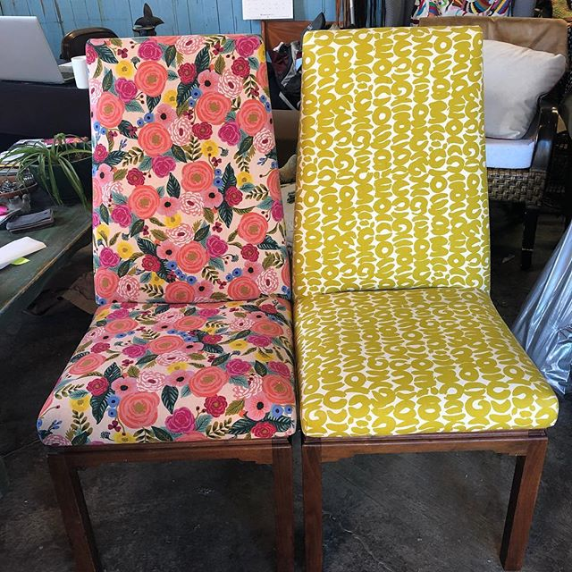 Two cutie pie chairs.  Fabric from @fabricateboulder #fixingfurniture #interiordesign #cutestchairsever #upholstery