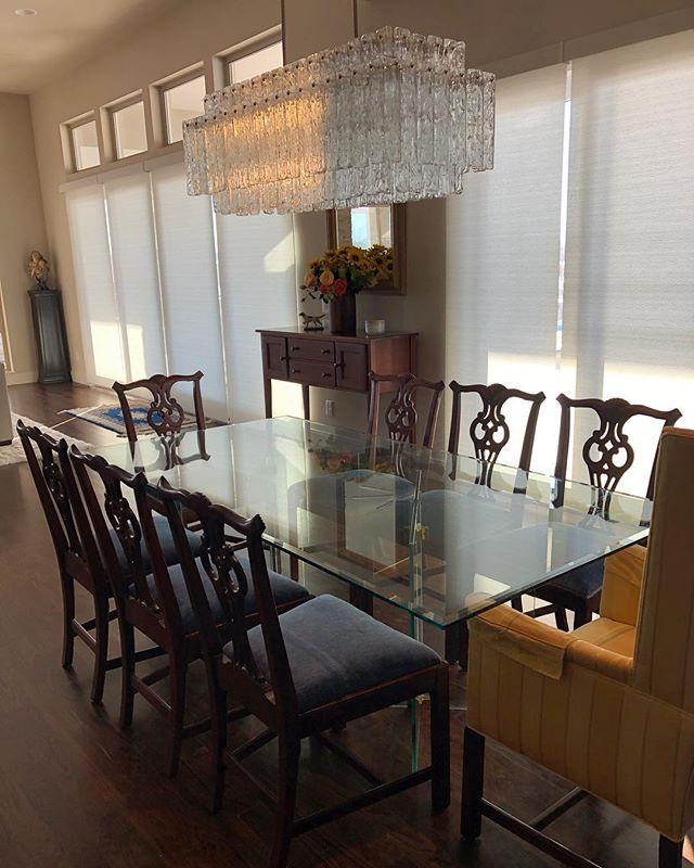 Blue velvet dining chairs done and delivered ready for thanksgiving #upholstery #velvet #fixingfurniture #interiordesign #diningroomdecor