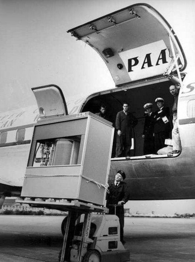 1956 Pam Am Airlines transferring an IBM 5MB hard drive
