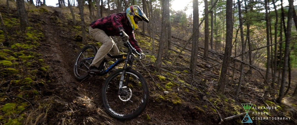 Knolly Knation rider Mason Good aggressively takes his first turn down a raw trail in Missoula, MT. October, 2016.