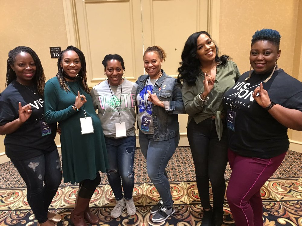 The ladies of Alpha Kappa Alpha Sorority, Incorporated gather for a quick photo after a class.  L to R: Sharetha Emanuel, Latoya Dixon Smith, Tomayia Colvin, Deanna Wynn, Rhea Whitney, Jazzella McKeel.