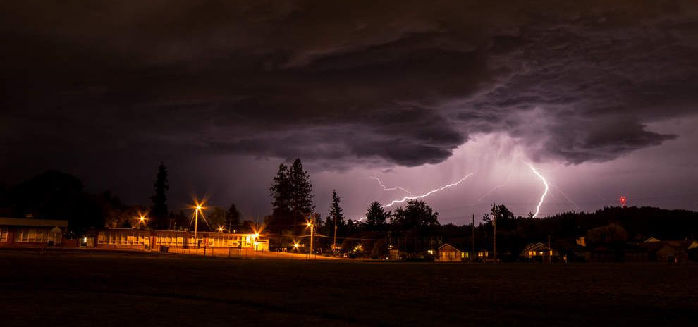 Lightning fills the Eugene skyline on May 31. (Chris Anderson photo, Register Guard, 6/2/15)
