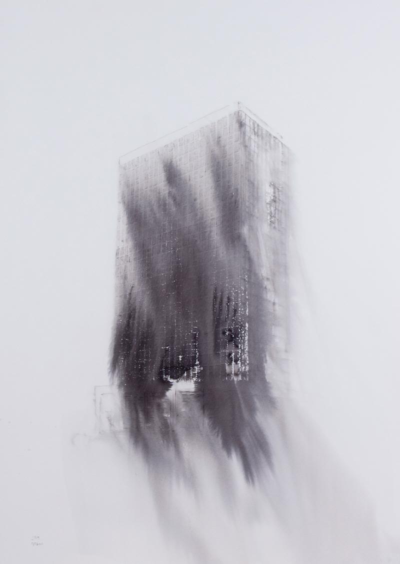 Fantasmagoría XLVI , 2013, tinta sobre papel, 70 x 50 cm.