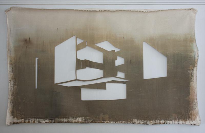 Sin título IX (Edificio Olympia) , 2012, óleo sobre tela calada, 140 x 200 cm.