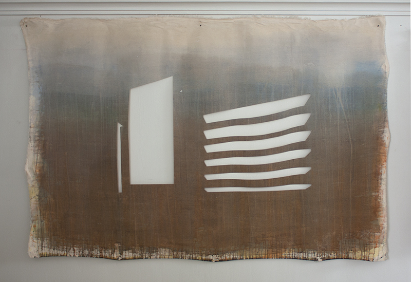 Sin título VIII (Edificio Guzmán Blanco) , 2012, óleo sobre tela calada, 140 x 200 cm.