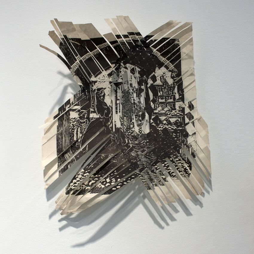 Relámpago 7 , 2011, xilografía apropiada.