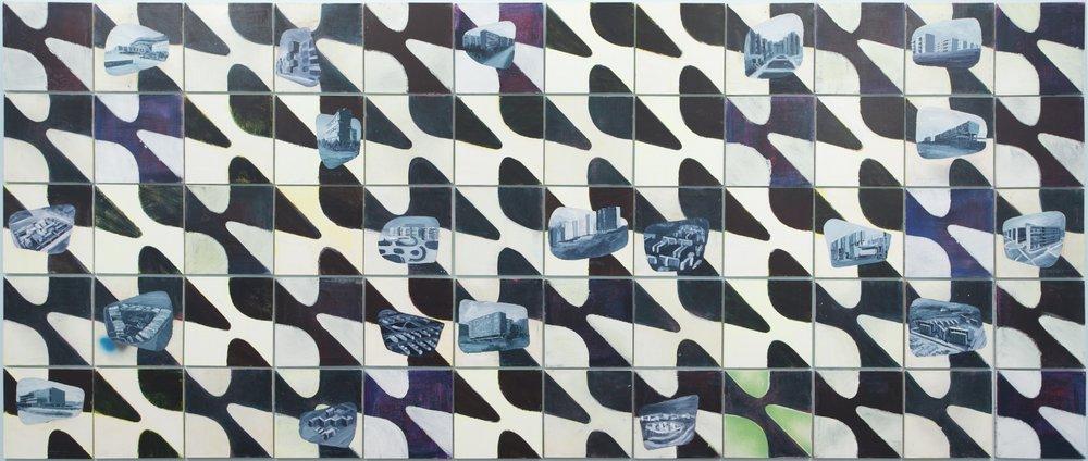 Vivienda social en Latinoamérica  , 2015, acrílico y pintura en aerosol sobre tela,150 x 360 cm.