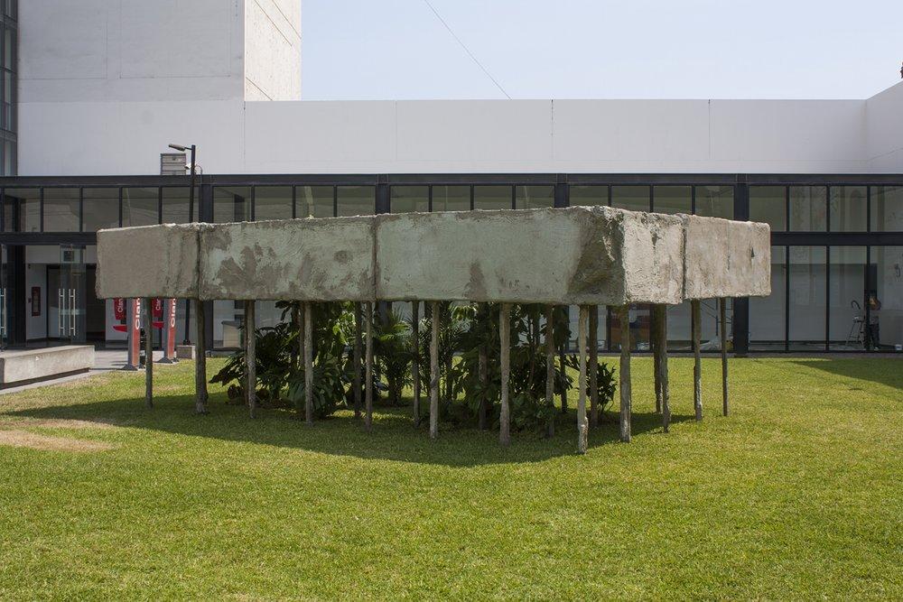 Folie de los pilotis , 2015,madera, poliestireno, yeso y cemento, palmeras, schiffleras y filodendros,226 x 434 x 692 cm.