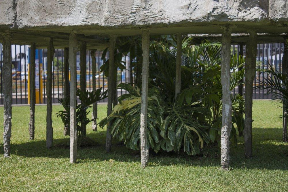 Folie de los pilotis  , 2015,  madera, poliestireno, yeso y cemento, palmeras, schiffleras y filodendros,  226 x 434 x 692 cm.