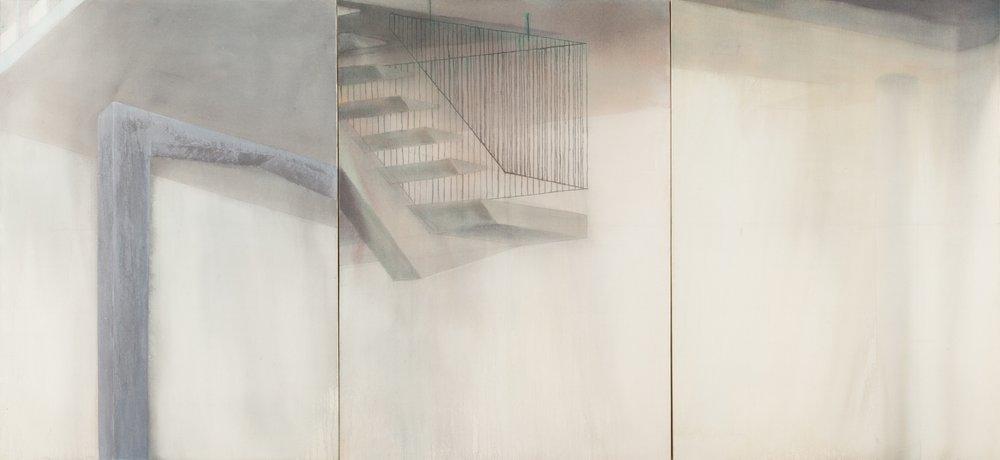 Residencial San Juan , 2013,acrílico sobre tela, 150 x 330 cm.