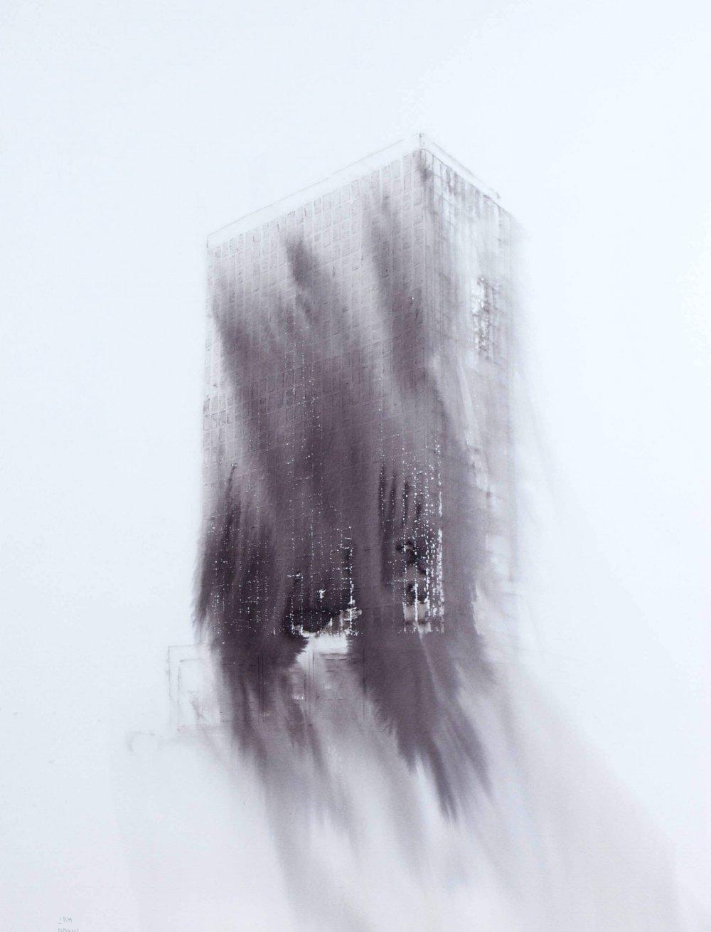 Fantasmagoría XLIII , 2013, tinta sobre papel,70 x 50 cm.