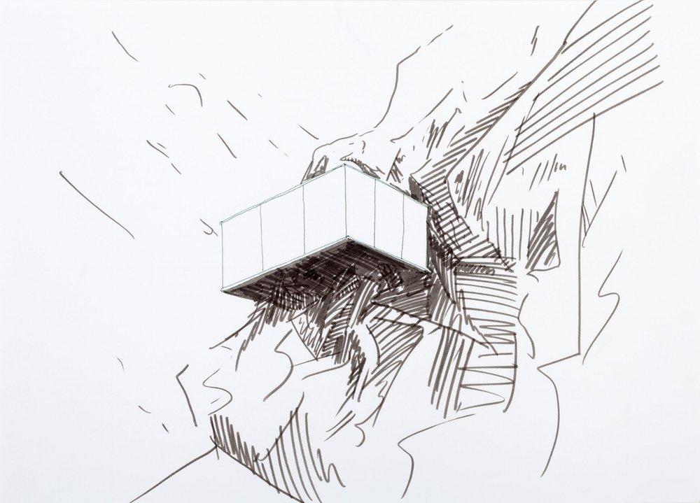 Casa de vidrio 1 , 2014, tinta sobre papel, 30 x 41 cm.