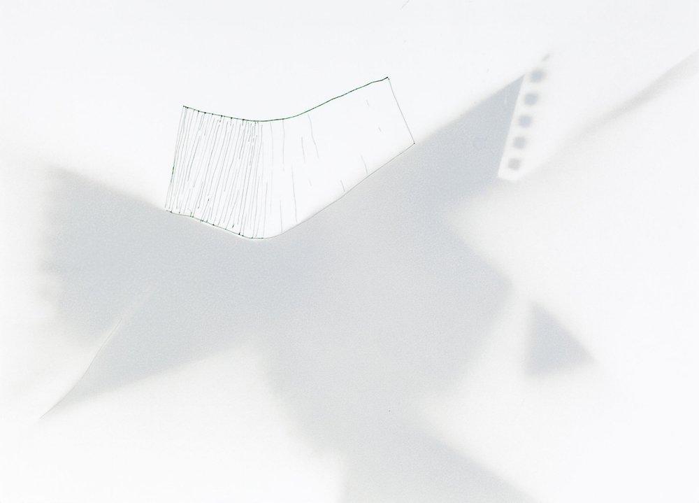 Casa de vidrio 2 , 2014, tinta y pintura en aerosol sobre papel, 30 x 41 cm.