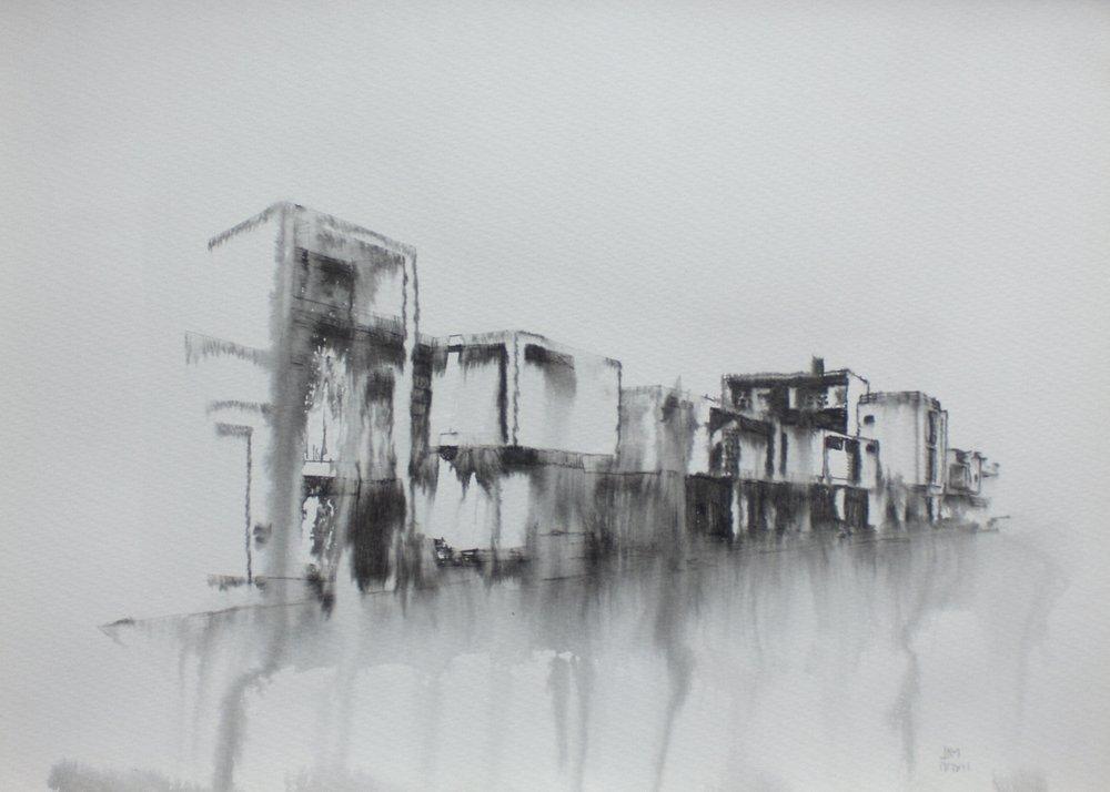 Fantasmagoría XXXVII  , 2013, tinta sobre papel, 30 x 40 cm.