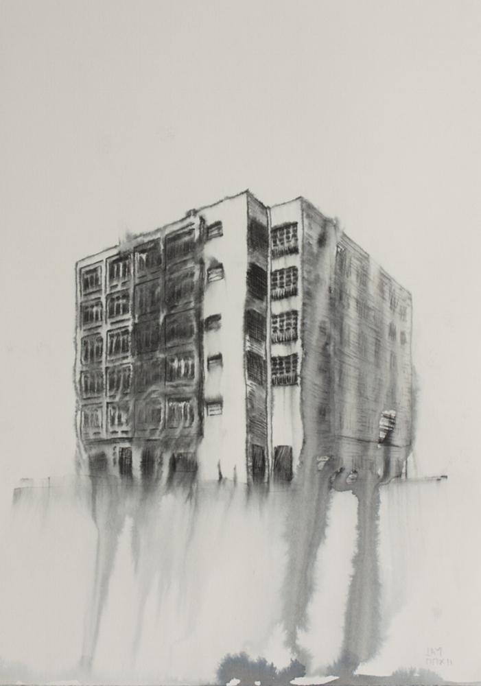 Fantasmagoría XXV  , 2012, tinta sobre papel, 35 x 25 cm.
