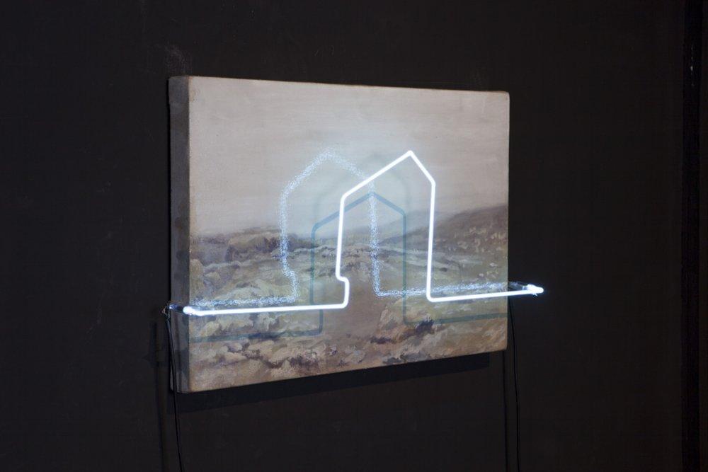 Ser de su tiempo VII , 2012, ó leo sobre tela y lámpara de neón,40 x 60 cm.