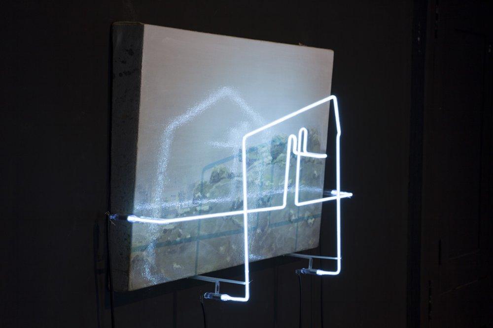 Ser de su tiempo VI , 2012, ó leo sobre tela y lámpara de neón,40 x 60 cm.