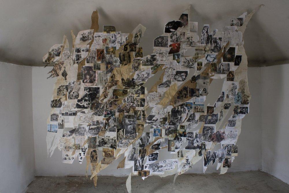 Relámpago   (sobre unos dibujos de Edilberto Jiménez)   , 2010, postales, fotocopias, dibujos, etc.