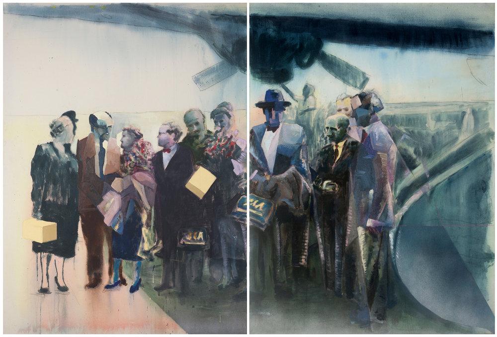 Llegada de Sert, Gropius y sus esposas a Lima; son recibidos en el aeropuerto por los arquitectos Velarde, Linder, Marquina y Belaunde; 1954,    2015, óleo sobre tela, 150 x 220 cm.