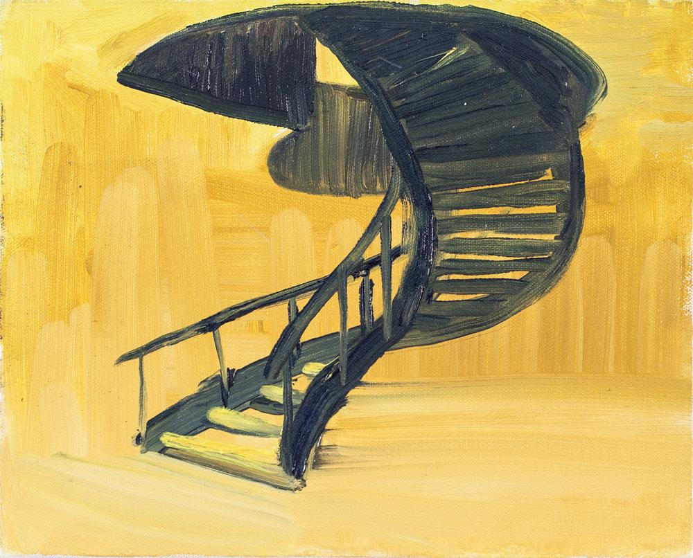 Perspectiva de la escalera  , 2014, óleo sobre tela, 20 x 25 cm.